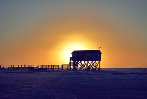 SPO Pfahlbau Sonnenuntergang, Strand, Seglen Kiten