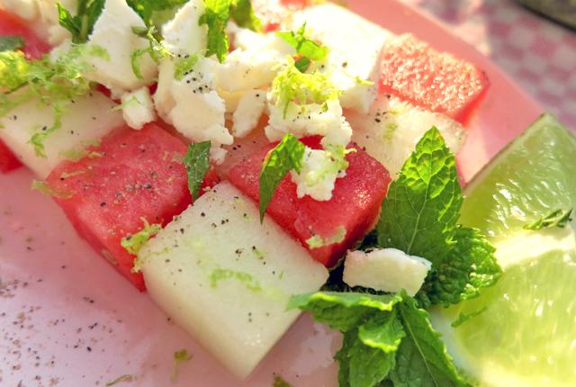 Melonen Salat- Sommerküche für Segleboot, Yacht und Camping