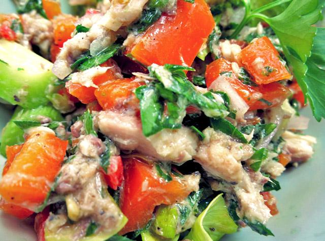 ölsardinen Salat Close Up