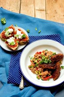 Djuvec Reis vegetarisches Cevapci Segel Rezept
