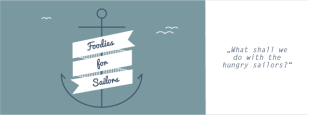 Foodies For Sailors Logo und Motto Hungrige Segler Action