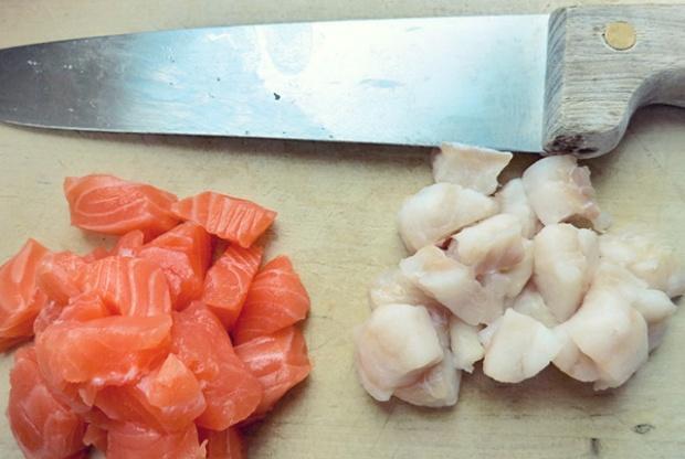 Ceviche aus Peru, Fischwürfel, Segeln und Bordküche