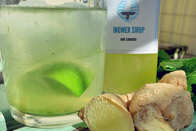 Hausgemachter Ingwersirup Limonade mit LimetteBordküche Segeln