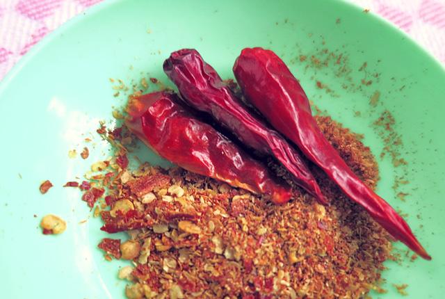 Chili gemahlen Bordküche Thai Salat Slegeln