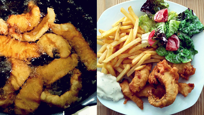 Flunder Fisch und Chips Bordküche