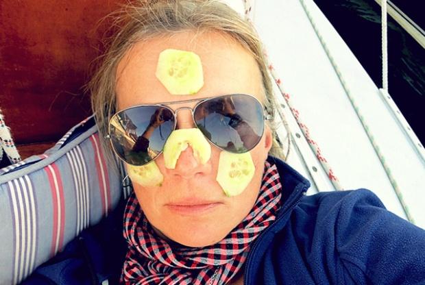Die See kocht heute nicht. Selfie mit Gurkenmaske