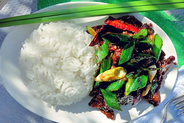 Segel Rezept: Steak Mongolisch auf Teller mit Reis