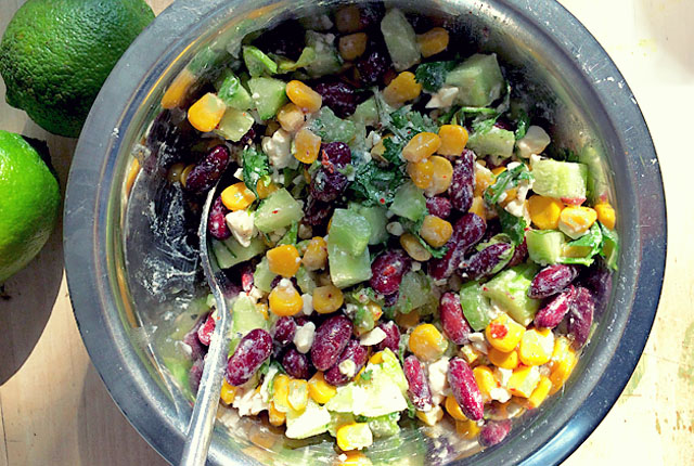 Bordrezept: Kidneybohnen Mais Feta Salat
