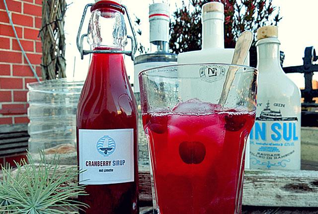 Cranberry Sirup mit Gin Kollektion im Freien