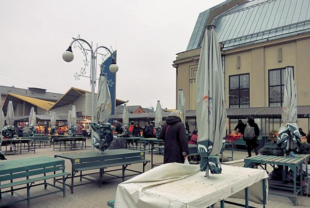 Riga Central Markt Aussenbereich in Winter