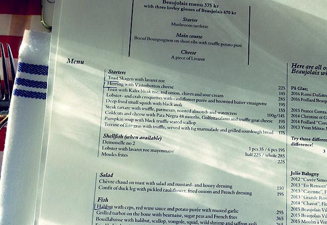 Menü im Tranan Stockholm