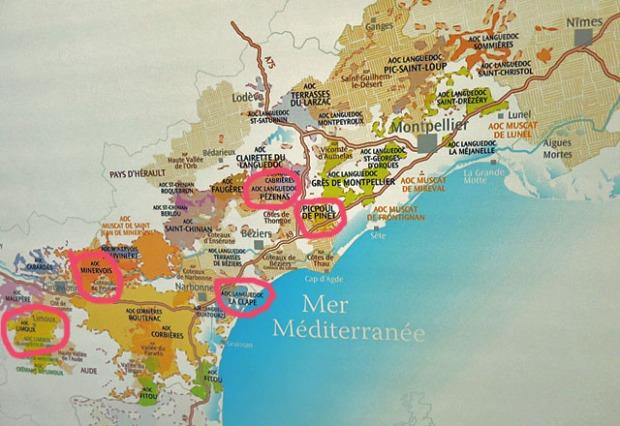 Die AOC Karte aus dem Languedoc Effilee Event