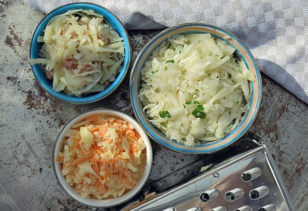 Die See kocht: Krautsalat drei Varianten, vegan, bayerisch und Coleslaw