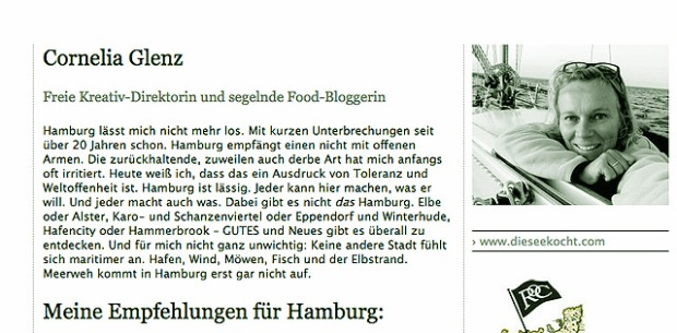 Segelnde Foodbloggerin Cornelia Glenz Fürsprecherin Hamburg