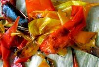 Paprika gehäutet, schwarze Haut