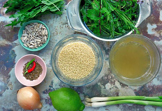 Grüner Couscous Salat alle Zutaten