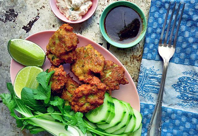 Daenische Fischfrikadellen Thai Style mit Gemuese
