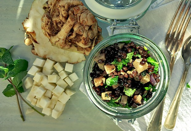 Sellerie Linsensalat mit Minze und Nüssen