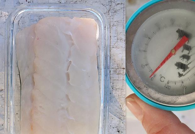 Skrei bei 2 Grad lagern auf Glas