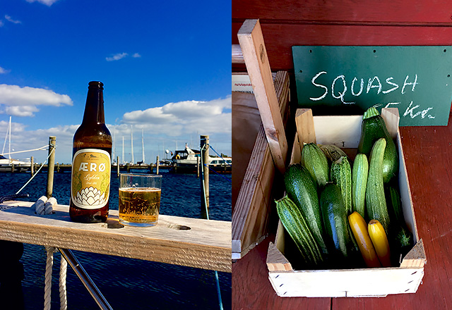lokale Produkte auf Aeroe: local beer and squash