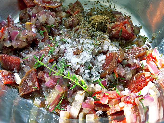 Weisse Bohnen Salalt Gewuerze
