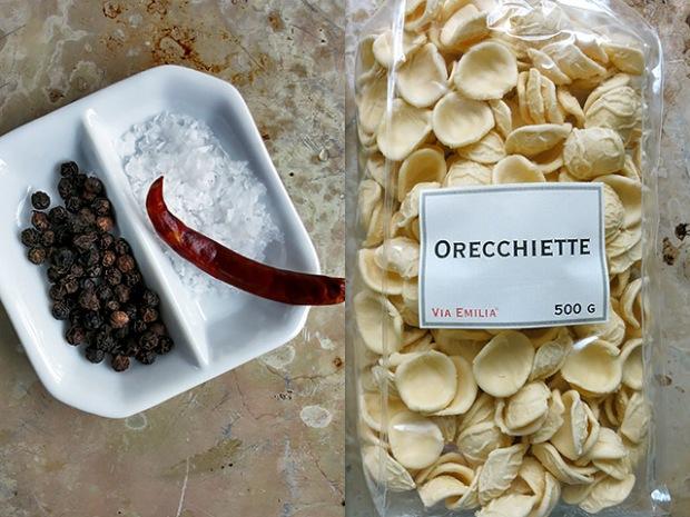 Italienische Orecchiette getrocknet und Gewürze