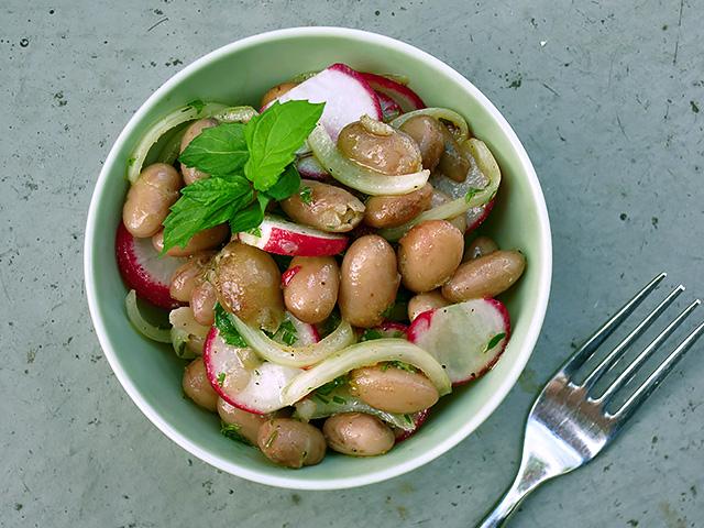 Borlotti Bohnen Salat Minze Radieschen