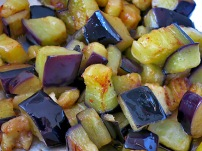Auberginen Braten in Olivenoel