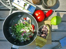 Kräuter und Chili Zutaten