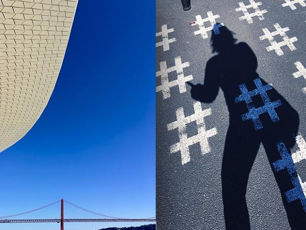 Lissabon Hashtags und MAAT Museum