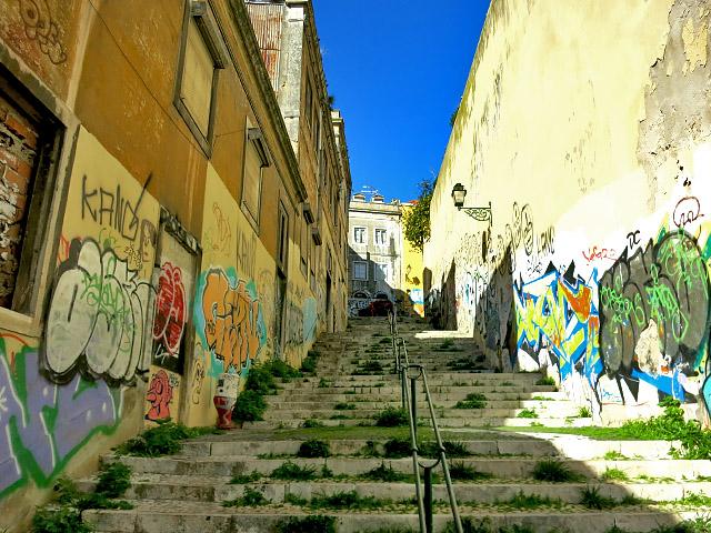 Lissabon Treppen Graffiti Verfall