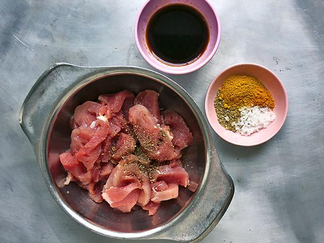 Zutaten fuer Fried Rice vorbereitet