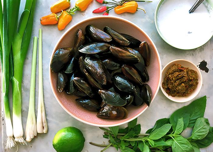 Thai Muschel Curry Zutaten