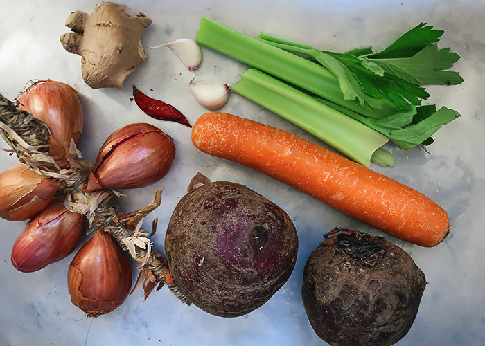 Zutaten für Rote Bete Suppe