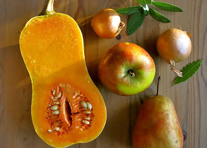 regionale Butternut Kürbissuppe Birne oder Apfel