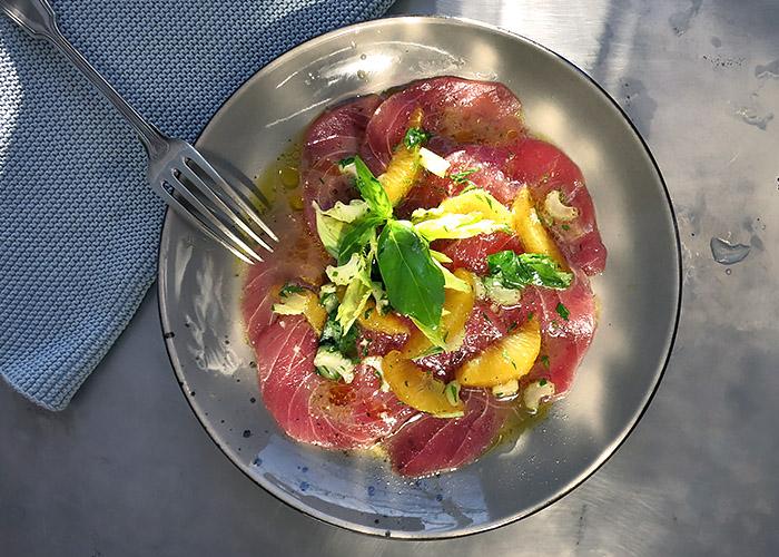 Thunfisch Carpaccio Rezept mit Orangenfilets