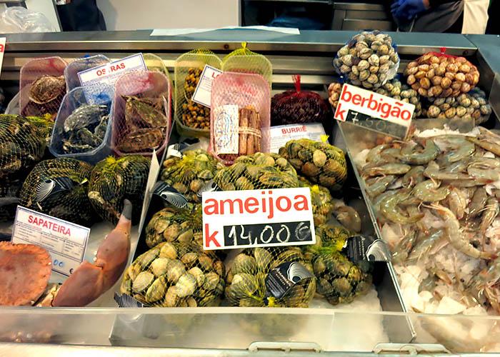 Muscheln in Portugal Markt