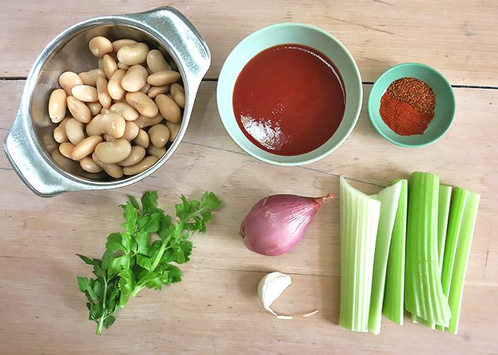 Tapa mit Bohnen und Sellerie
