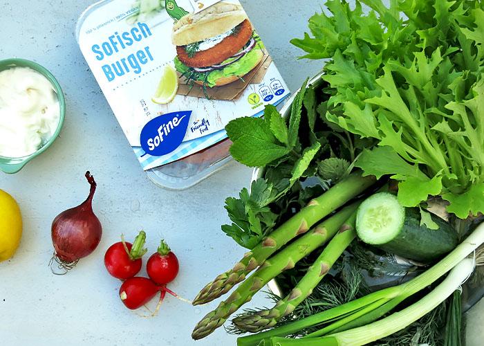SoFisch veganer Burger mit Zutaten